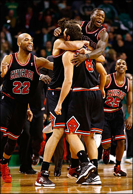 Bulls celebrate in Boston
