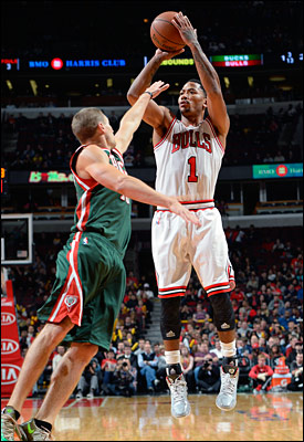 Rose had eight points in the first quarter with a three pointer and three assists while Gibson pounded inside to match Rose with eight points and pretty much made those eights enough to overwhelm the Bucks.