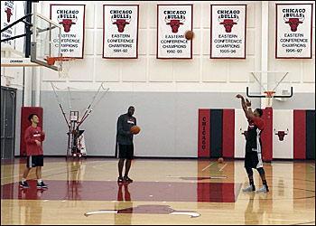 Rose shoots free throws at the Berto Center