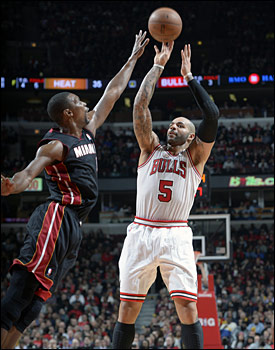 Carlos Boozer led the Bulls with 27 points, oh so sweet for Boozer as he makes his off season home in Miami and where his children live.