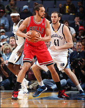 Noah and the Bulls' 96-91 victory in Memphis was Chicago's first road win this season over a Western Conference team.