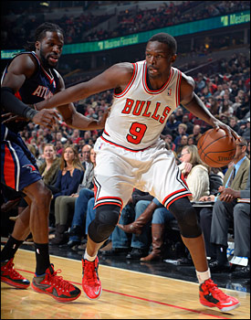 Deng with 17 points and 11 rebounds was one of three Bulls to record a double-double against the Hawks.