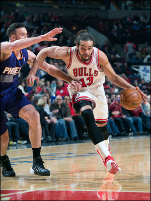 On Jan. 7 at the United Center, the Bulls trumped the Suns 92-87, as Joakim Noah (14 points, 16 boards,  six assists) and Taj Gibson (19 points, 10 rebounds) each posted double-doubles