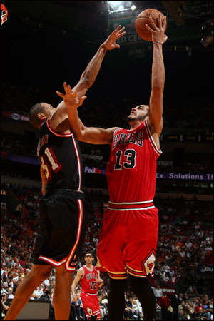 """When we play the Miami Heat our intensity has to be high the whole time,"" said Joakim Noah, who, nevertheless, had a big game with 20 points, 15 rebounds and four blocks."