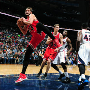 Noah and the Bulls Bulls salvaged another win against the Hawks, their sixth in the last seven to move to 30-26.