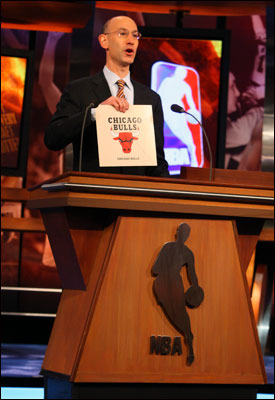 Then NBA Deputy Commissioner Adam Silver was on hand in 2008 to announce the Bulls winning the first pick at the NBA Draft Lottery. (Jesse D. Garrabrant/NBAE/Getty Images)