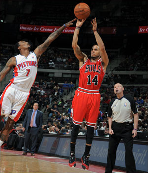 """""""This team, no matter who is out there, we give our all,"""" said D.J. Augustin, who had 26 points off the bench, including 14 in the fourth quarter, to lead the Bulls. """"We feel we can beat any team on any given night."""""""
