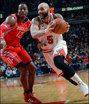 Boozer had 10 first quarter points as the Bulls took a 25-20 lead and now are 19-0 at home when leading after the first quarter.