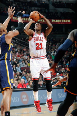 Jimmy Butler had 12 points for the Bulls, who evened their season series with the Pacers at 2-2.