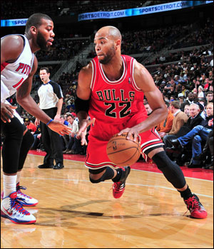 Taj Gibson came off the bench with 22 points, making 11 of 16 shots turning around a 12-point second quarter deficit with 14 points in the quarter, dominating Pistons star Josh Smith inside.