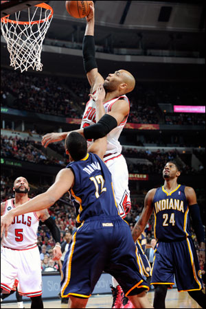 """""""Everyone is at the same process right now,"""" said Taj Gibson, who was brilliant off the bench for the Bulls with a team-high 23 points along with eight rebounds, five offensive, and nine of 15 shooting. """"Trying to get past Miami at the end of the day."""""""