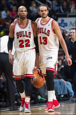 """""""Thibs believes in us and we believe in each other,"""" said Noah, above with Gibson. """"We've shown on the court that when we're playing well, we can beat anybody."""""""