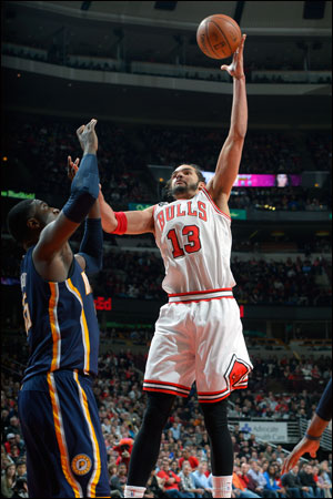 Joakim Noah, excited even more than usual in clapping at the ineffective Roy Hibbert on the Pacers' first play of the game in a turnover, had 10 points, eight rebounds, eight assists, four steals and five blocks.