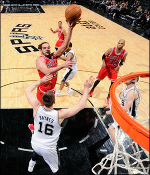 Over the last three seasons, Noah and the  Bulls are 2-1 at the United Center against the Spurs.