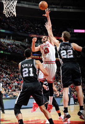 """""""We got our (tushies) kicked,"""" observed Joakim Noah, who had 13 points, eight rebounds, seven assists, two blocks and many, many frustrations."""