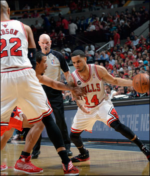 The Bulls were led by D.J. Augustin and Kirk Hinrich with 16 points each, but they combined to shoot 10 of 31.