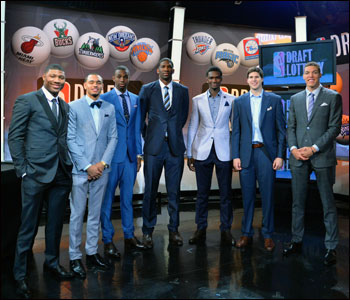 Prospects Marcus Smart, Tyler Ennis, Andrew Wiggins, Joel Embiid, Noah Vonleh, Doug McDermott and Aaron Gordon gather for a photo during the 2014 NBA Draft Lottery on Tuesday.
