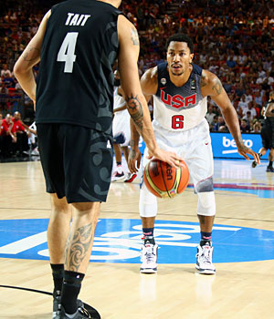 """""""His defense was the most aggressive of the USA guards as he made a steal going over a screen on a pick and roll, which few of the USA guards attempt,"""" writes Smith of Rose."""